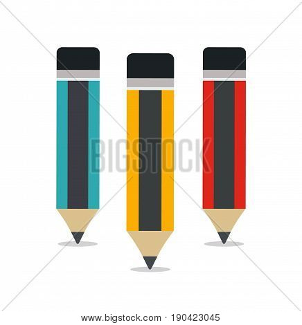 Set of three pencils. Pencil with eraser. Isolated. Flat design. Vector stock.