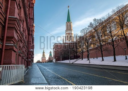 Kremlin wall Red Square in Moscow Russia