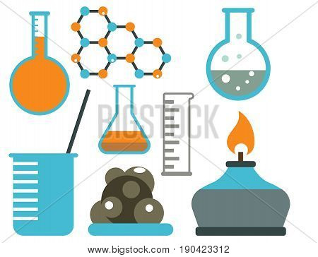 Lab symbols test medical laboratory scientific biology design molecule concept and biotechnology science chemistry icons vector illustration. Experiment research equipment.