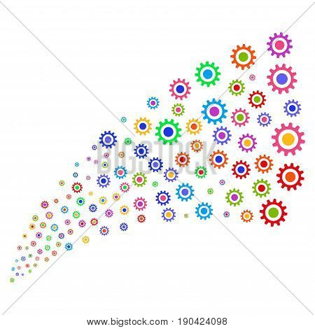 Source of cogwheel symbols. Vector illustration style is flat bright multicolored iconic cogwheel symbols on a white background. Object fountain created from icons.