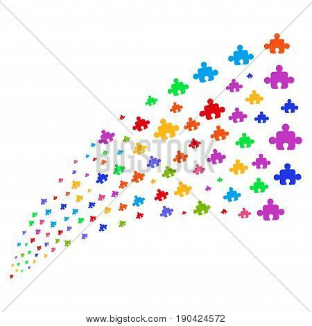 Fountain of component symbols. Vector illustration style is flat bright multicolored iconic component symbols on a white background. Object fountain done from symbols.