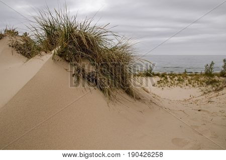 Sand Dune Background. Sand dune topped with dune grass on the shores of Lake Michigan in Silver Lake State Park