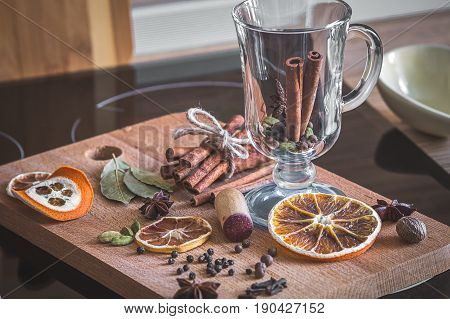 Set of spices and wine for making mulled wine