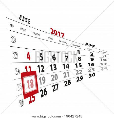 June 18, Highlighted On 2017 Calendar.