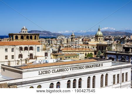 Palermo.Italy.May 26 2017.View of the historic centre and the roof height in Palermo. Sicily