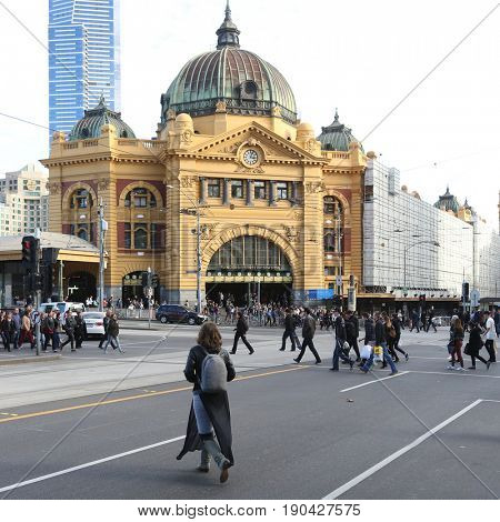 MELBOURNE, AUSTRALIA - MAY 13 2017: Iconic Flinders Street Station  was completed in 1910 and is used by over 100,000 people  each day