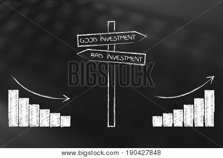 Positive And Negative Stats Next To Good And Bad Investment Road Sign