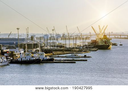 Tunisia.Tunisia.May 25 2017.Views of the surrounding area and the port of La Gullet in Tunisia at sunset