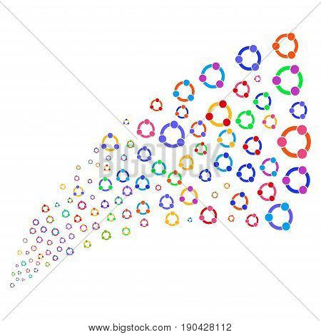 Fountain of cooperation symbols. Vector illustration style is flat bright multicolored iconic cooperation symbols on a white background. Object fountain done from pictographs.