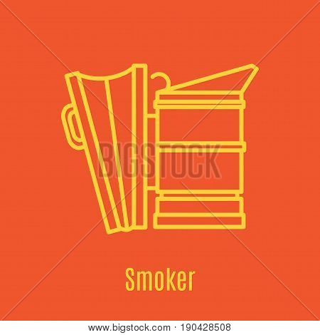 Vector illustration of thin line icon bee smoker for medicine, apitherapy, beekeeping products, cosmetics, soap. Linear symbol