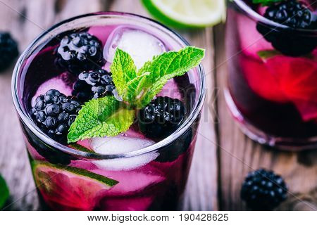 Blackberry Smash Cold Cocktail  With Lime, And Mint