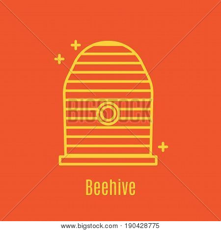 Vector illustration of thin line icon beehive for medicine, apitherapy, beekeeping products, cosmetics, soap. Linear symbol