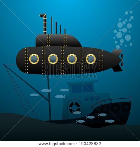 Black submarine sails underwater. Sunken ship on the seabed. Cartoon image. Vector illustration.