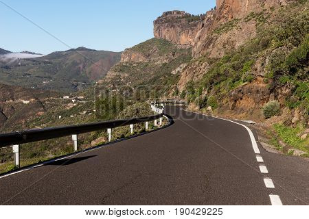 Road in the mountains on the island of Gran Canaria