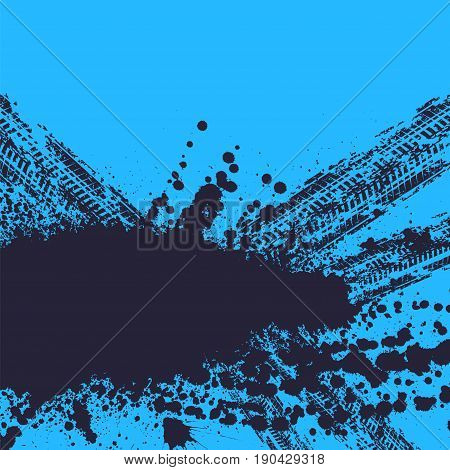 Blue background with tire tracks and ink blots