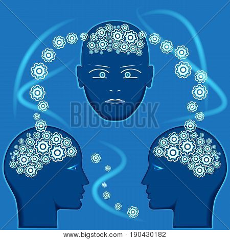 Gears in the form of brain in heads of people concept for communications thinking of people information interchange.