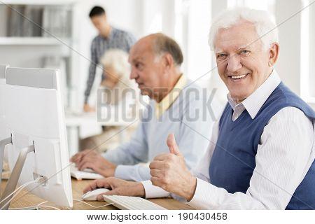 Grandpa Enjoys Learning