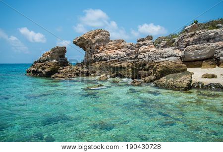 Beautiful scenery view of unknown island in Tasman sea of Arnhem land, Northern Territory state of Australia.