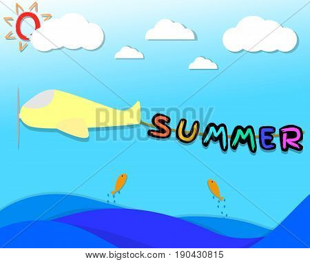 Summer character hang on the rope that bind be hide the airplane. airplane flying over the sea in the sky with cloud and sun . summer season. picture for kids. illustration. vector. graphic design.