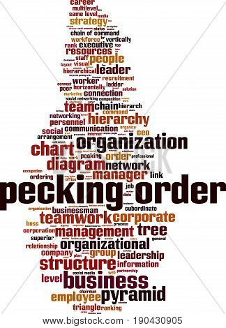 Pecking order word cloud concept. Vector illustration