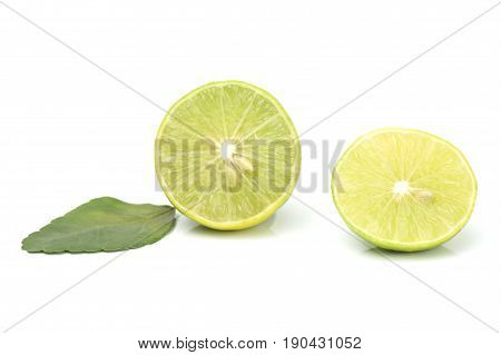 lemond with leaf isolated on white background