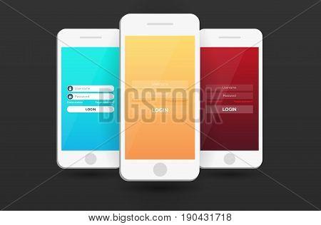 Login Screens Mobile App. Material Design Ui, Ux, Gui. Responsive Website.