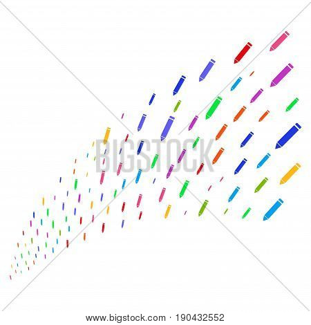 Stream of edit pencil symbols. Vector illustration style is flat bright multicolored iconic edit pencil symbols on a white background. Object fountain organized from design elements.