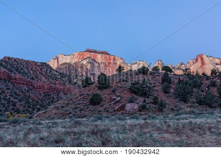 a scenic sunrise landscape at Zion National Park Utah in fall