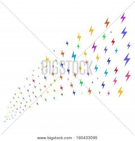 Source of electric bolt symbols. Vector illustration style is flat bright multicolored iconic electric bolt symbols on a white background. Object fountain done from symbols.