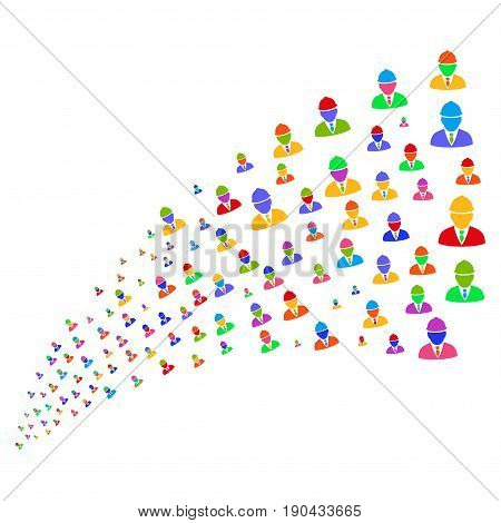 Fountain of engineer symbols. Vector illustration style is flat bright multicolored iconic engineer symbols on a white background. Object fountain organized from icons.