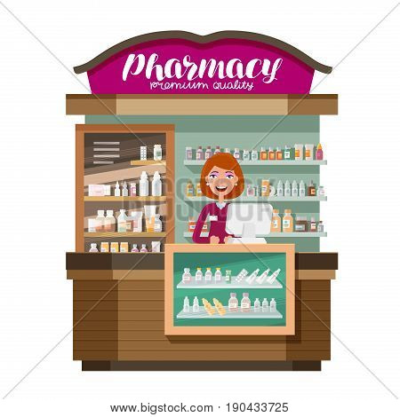 Pharmacy, drugstore. Medicine, drug, medication concept. Cartoon vector illustration isolated on white background