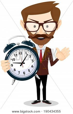 Human with alarm clock. Young businessman in business concept isolated on white. Stock flat vector illustration.