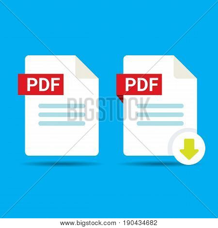 vector flat PDF file icon and vector pdf download icon set isolated on blue background. Vector document or presentation icon design template for web site or mobile app