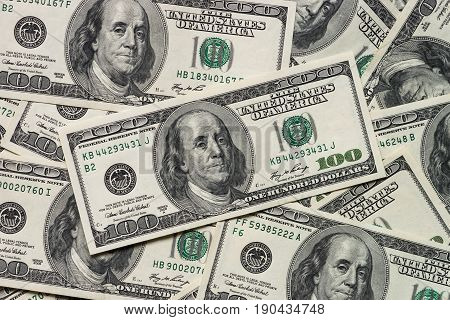 Cash money dollar close up. Background with money american hundred dollar bills.