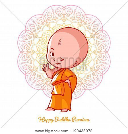 Little Cute Monk With Thumb Up In The Orange Robe.
