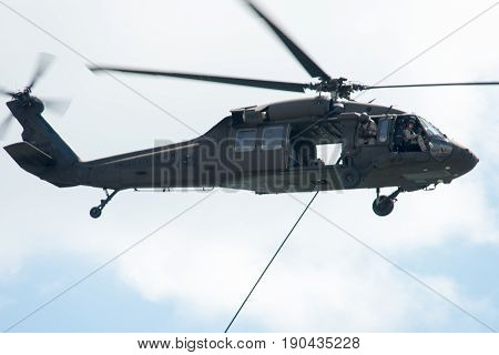 ATLANTIC CITY, NJ - AUGUST 17: US Army Helicopter performing at Annual Atlantic City Air Show on August 17, 2016