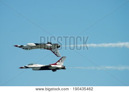 ATLANTIC CITY, NJ - AUGUST 17: U.S. Air Force Thunderbirds performing at the Annual Atlantic City Air Show on August 17, 2016