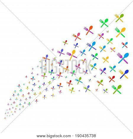 Source stream of fork and spoon symbols. Vector illustration style is flat bright multicolored iconic fork and spoon symbols on a white background. Object fountain created from pictographs.
