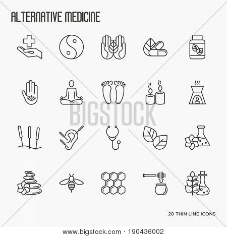 Alternative medicine thin line icon set. Elements for app or web site for yoga, acupuncture, wellness, ayurveda, chinese medicine, holistic centre. Vector illustration.