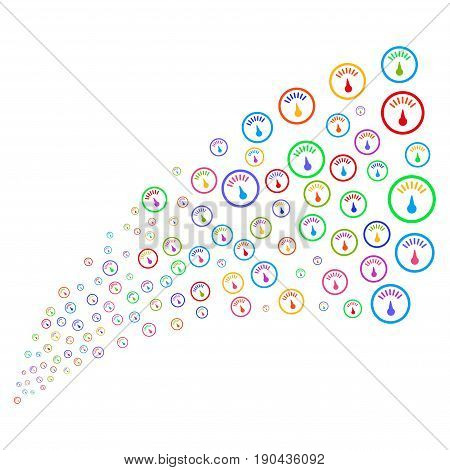 Fountain of gauge icons. Vector illustration style is flat bright multicolored iconic gauge symbols on a white background. Object fountain constructed from symbols.