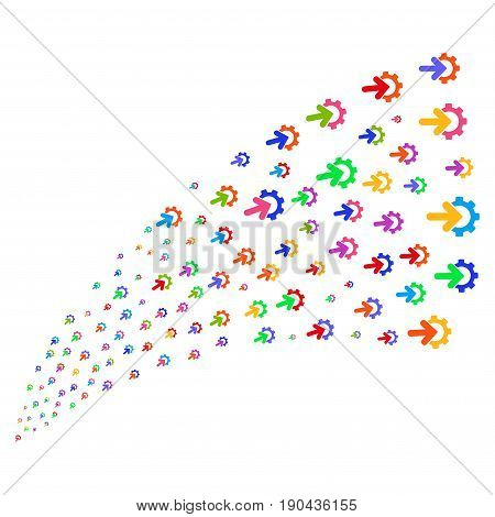Stream of gear integration icons. Vector illustration style is flat bright multicolored iconic gear integration symbols on a white background. Object fountain combined from pictograms.
