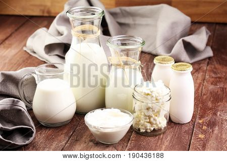 Milk Products - Tasty Healthy Dairy Products On A Table On: Sour Cream In A White Bowl, Cottage Chee