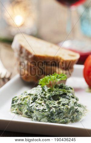 closeup of rich spinach yoghurt starter from lebanon