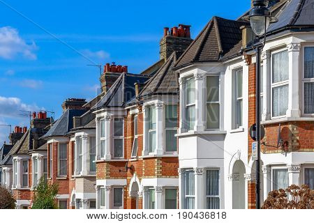 Typical English Terraced Houses In West Hampstead, London