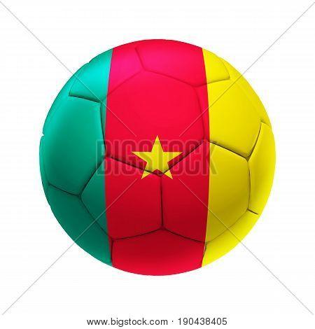 3D Soccer Ball With Cameroon Team Flag.