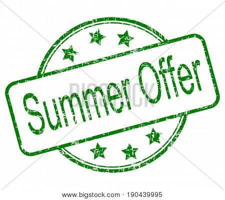 green summer offer rubber stamp - illustration