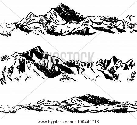 Outline drawings, mountains. Nature sketch. VECTOR illustrations set. Black contour. Collection of sketches