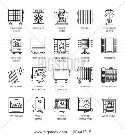 Vector line icons with radiator convector and fireplace. Heating equipment for home and office. Different styles of gas oil & electric heaters. Solar panel. Wood stove. Elements for space warming.