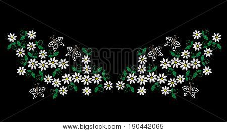 Embroidery stitches imitation neck line pattern with folk flower. Fashion embroidery on black background. Embroidery flower vector.