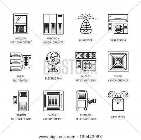Ventilators & Air conditioners. Climate equipment for summer. Split system fan purifier humidifier. Line icon collection of heat regulation appliances isolated on white background. Vector illustration.
